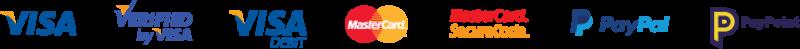 Visa, Mastercard, Paypal, Paypoint